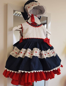 Navy and Red frilly dress