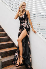 long party dress for women with leg open - lets adore