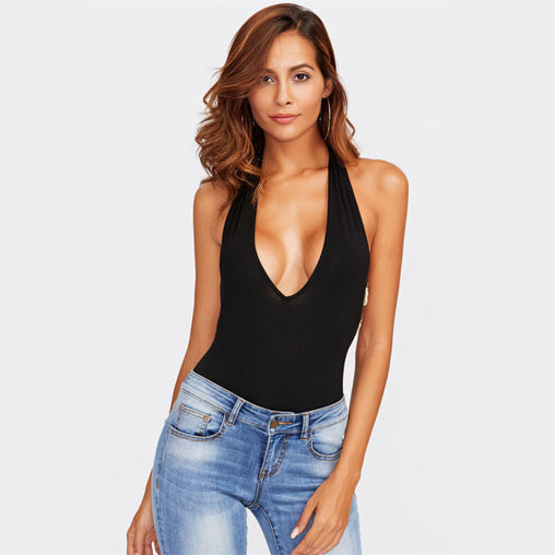 Beading Strappy Back Plunge Halter V Neck Sleeveless Halter Bodysuit