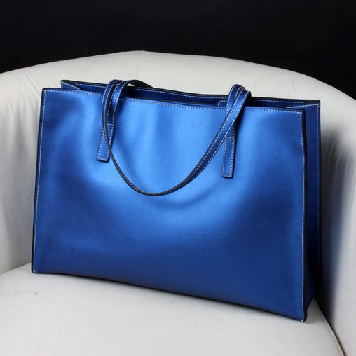 Women Leather casual Blue Handbag