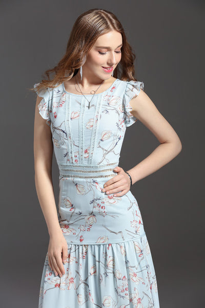 Casual Style O-Neck Sleeveless Flowers Print Elegant Mid-Calf Dress