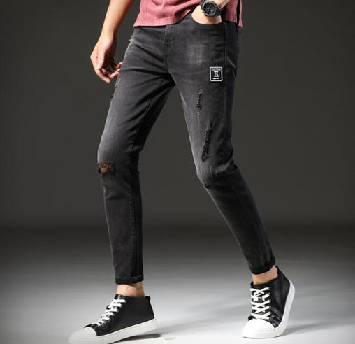 Straight Direct Men Jeans Causal Ankle Length