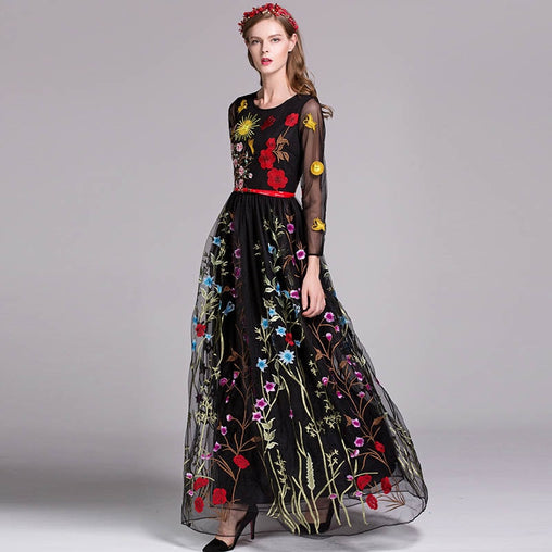 Luxury O Neck Long Sleeves Layered Floral Maxi Dress