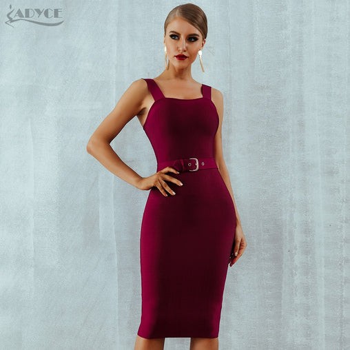 Sexy Wine Red Apricot Spaghetti Strap Belt Bodycon Party Club Dress