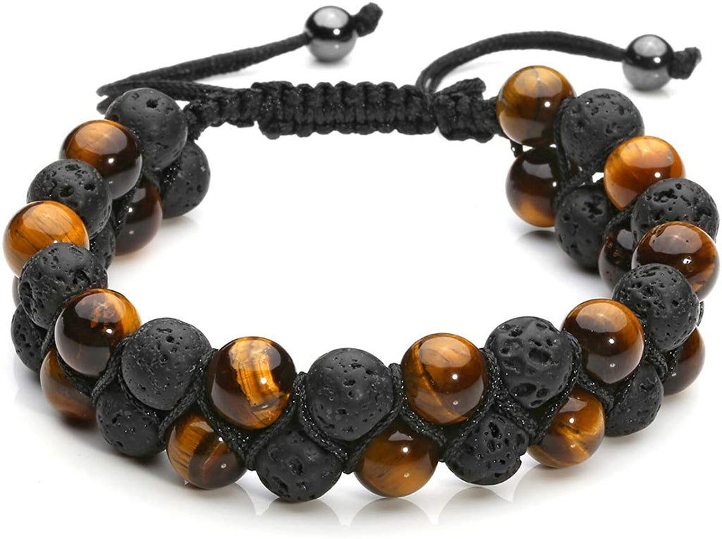 2 Layer Tiger Eye Lava Oil Diffuser Protection Bracelet