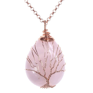 Tree of Life Rose Quartz Necklace