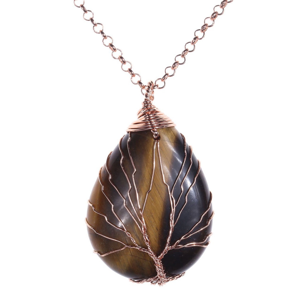 Tree of Life Tiger Eye Necklace