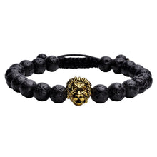 Load image into Gallery viewer, Lava Stone Lion Head Adjustable Bracelet