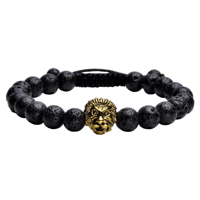 Lava Stone Lion Head Adjustable Bracelet