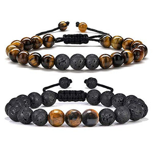 Lava & Tiger Eye Oil Diffuser Adjustable Bracelet
