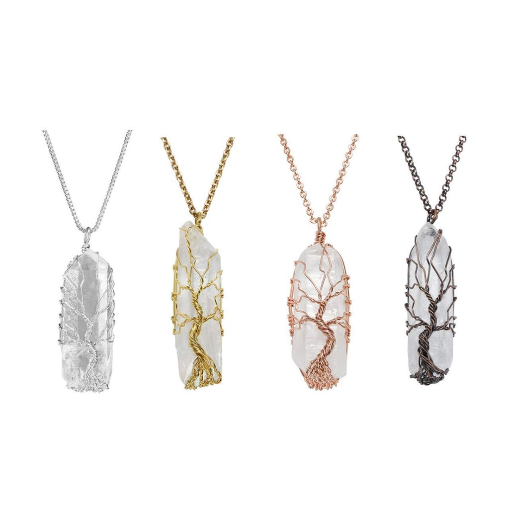 Tree of Life 7 Chakra Clear Quartz Necklace