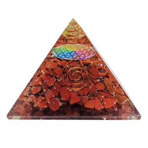 Round Center Red Jasper Orgone Protection Pyramid