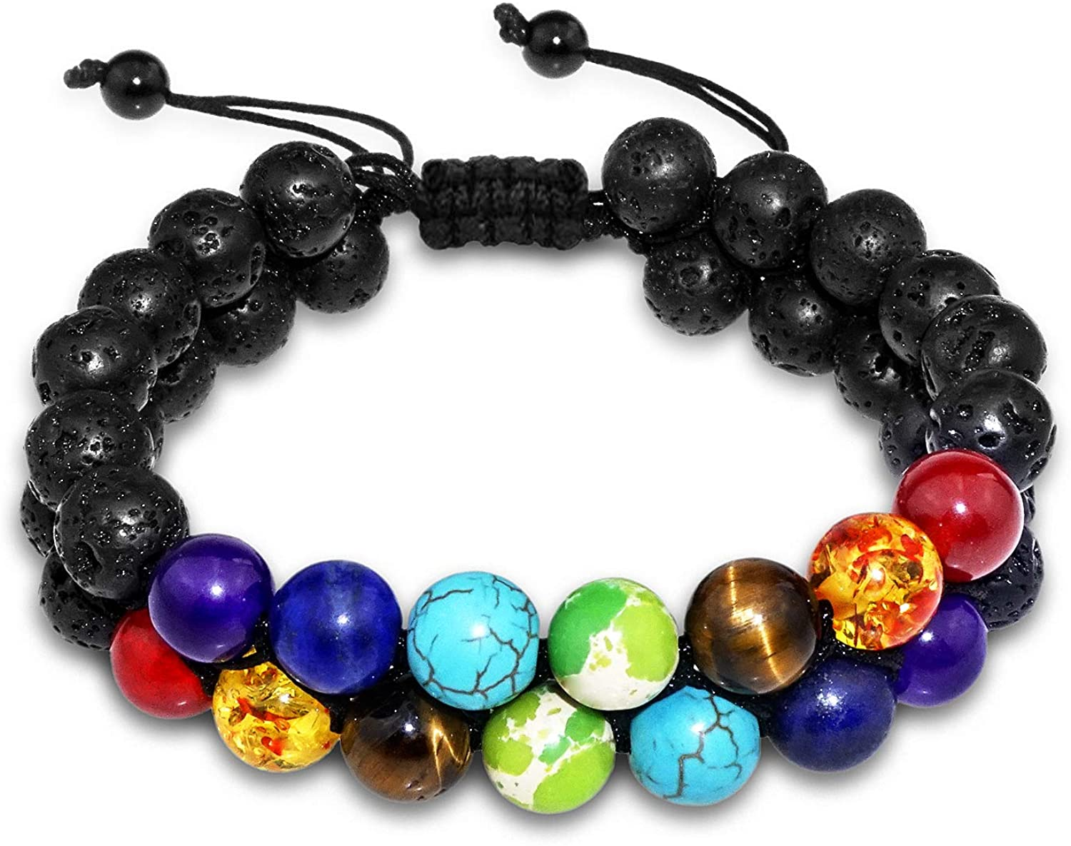 2 Layer Lava Chakra Oil Diffuser Protection Bracelet