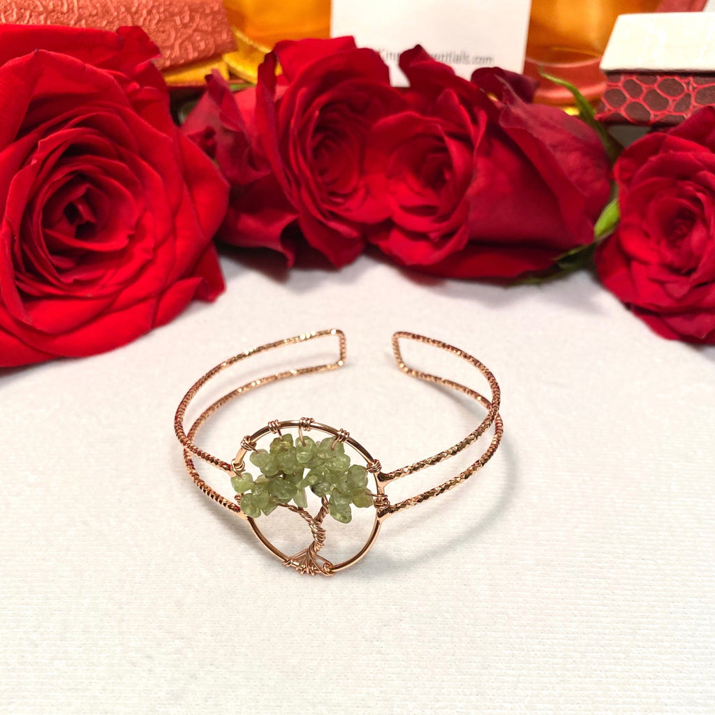 Green Aventerine Tree of Life Rose Gold Cuff
