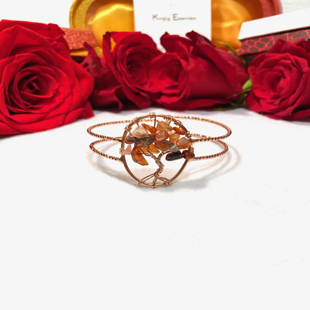 Carnelian Tree of Life Rose Gold Cuff