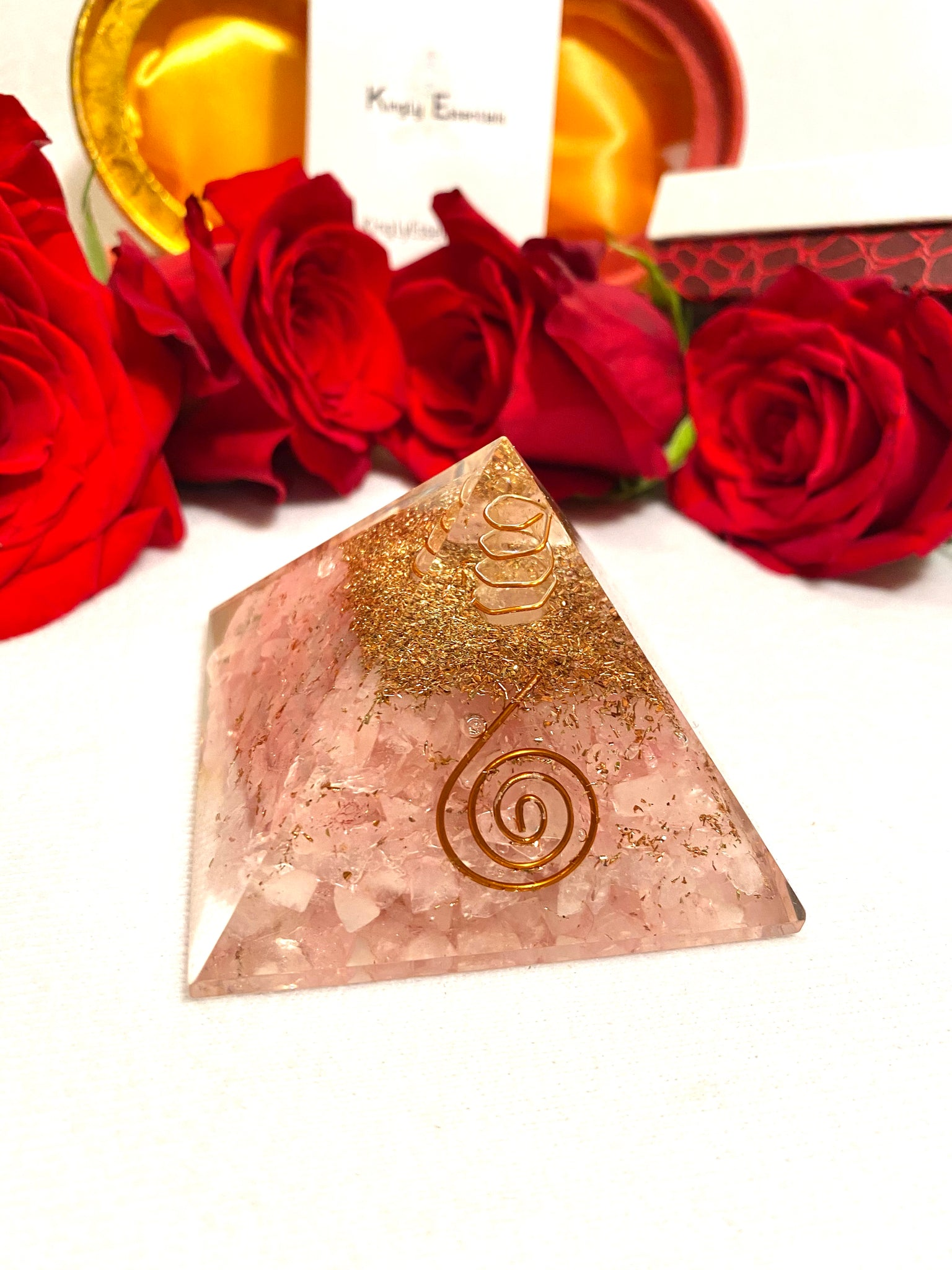 Egyption Rose Quartz Orgone Pyramid