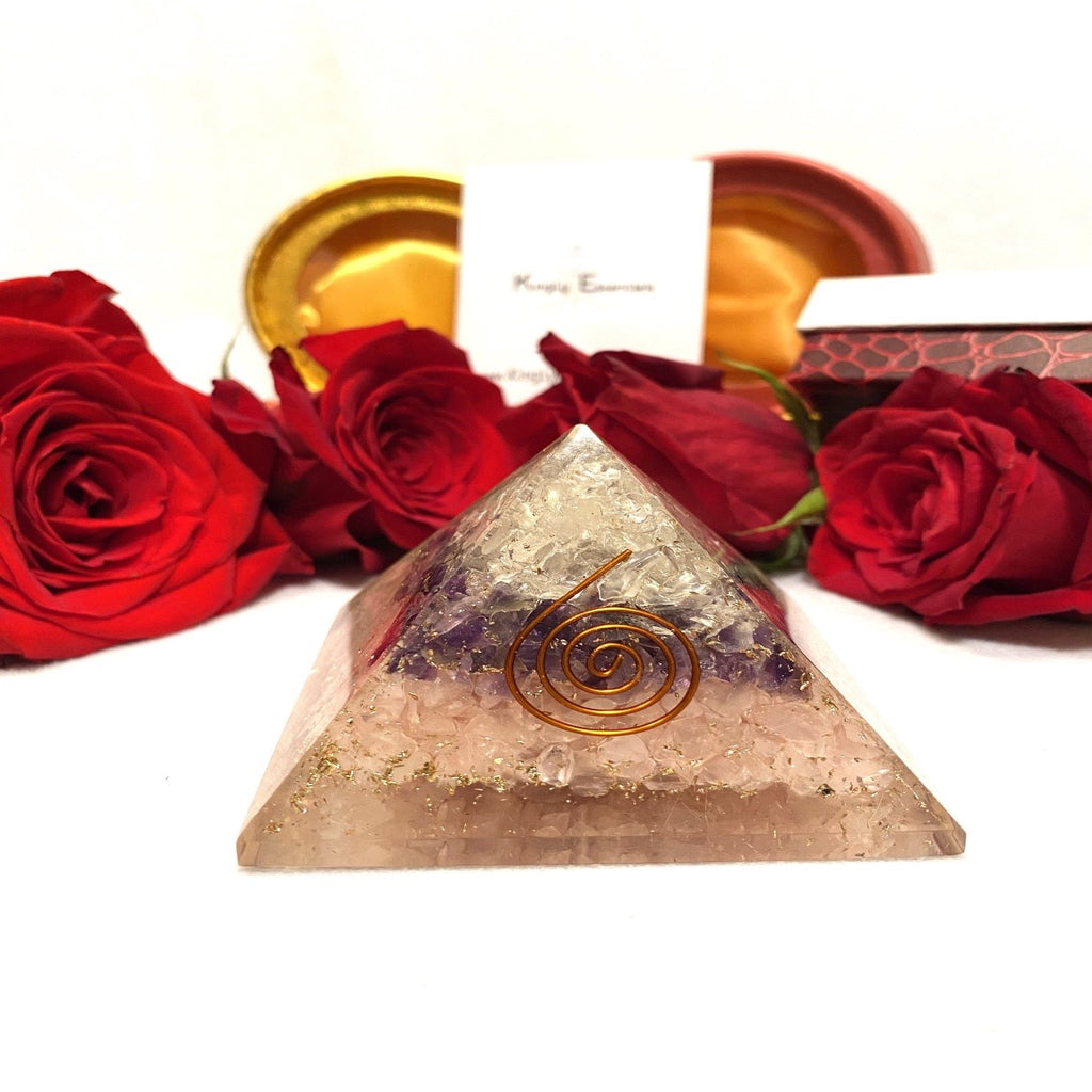 Amethyst & Egyption Rose Quartz Orgone Pyramid