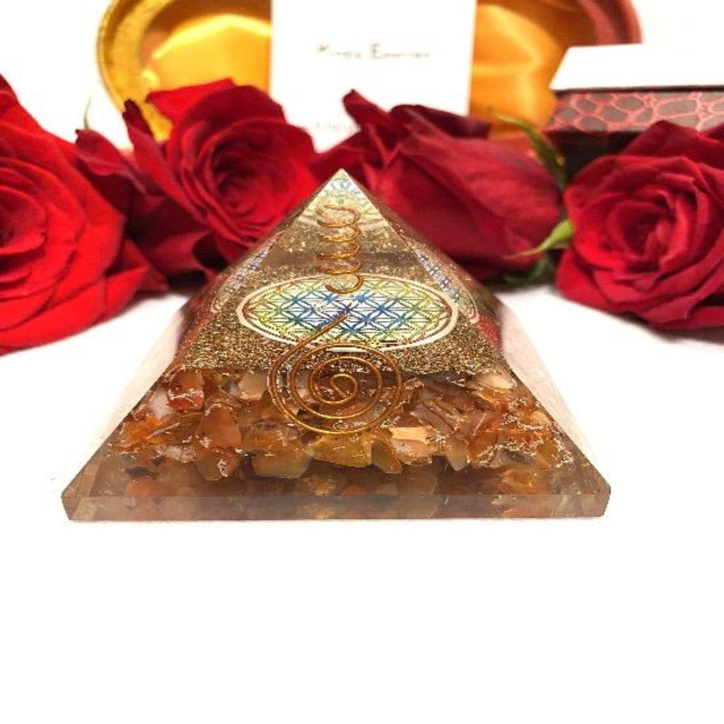 Round Center Carnelian Orgone Protection Pyramid
