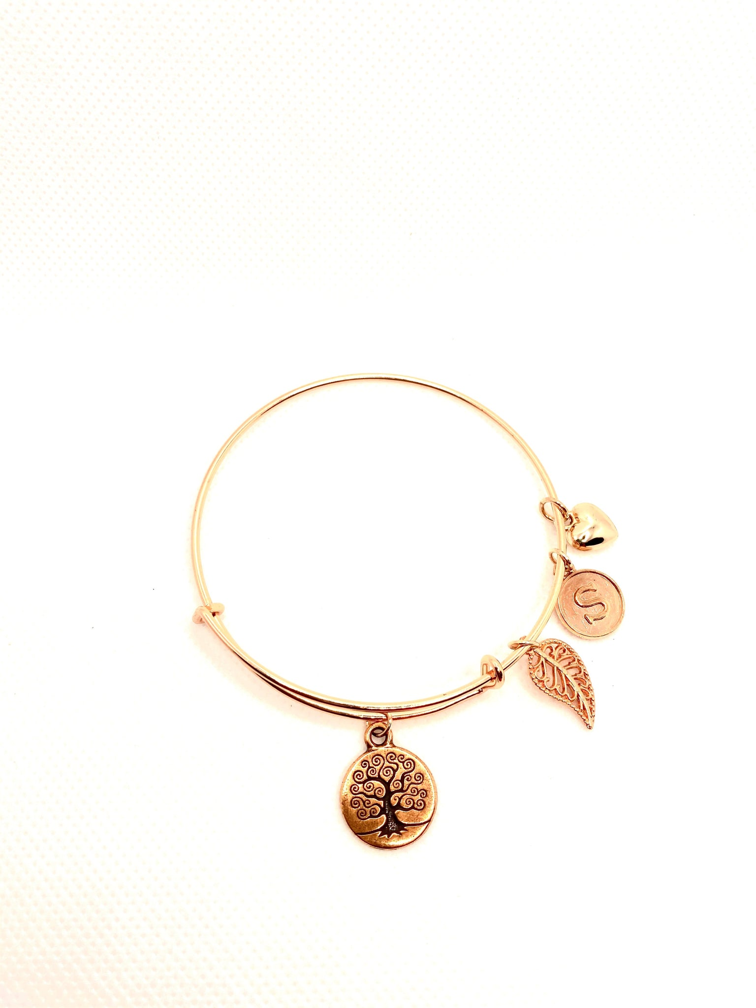 Personalized Tree of Life Rose Gold Bangle Bracelet
