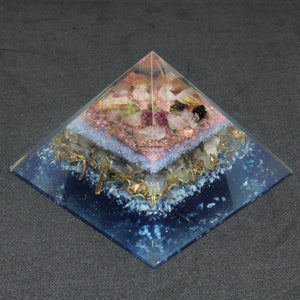 Orgonite Multi Tourmaline & Rose Quartz Generator Pyramid