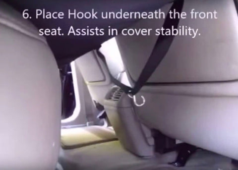 image showing dog seat cover installation how to place hook step 6