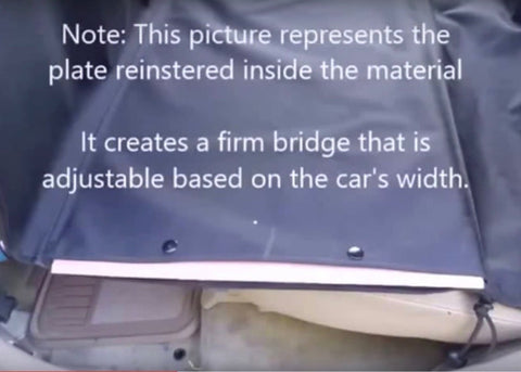 image showing how wooden plate inserted inside of material, installation step 5