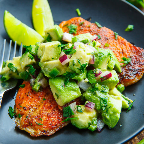 BLACKEN SALMON W/ AVOCADO SALSA