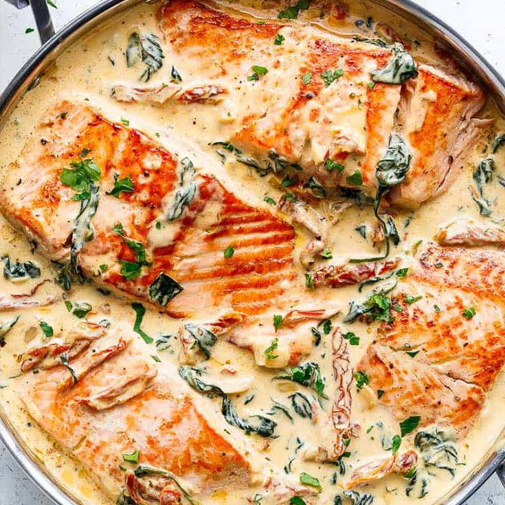 ONE PAN KETO TUSCAN SALMON