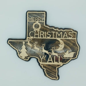 Texas Merry Christmas Y'all Plaque