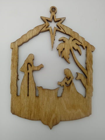 Manger Nativity Christmas Tree Ornament - Kripp's Kreations