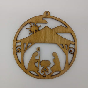 Round Nativity Christmas Tree Ornament - Kripp's Kreations