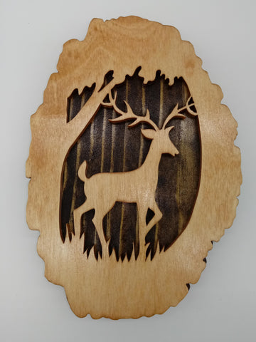Deer in Clearing Plaque - Kripp's Kreations