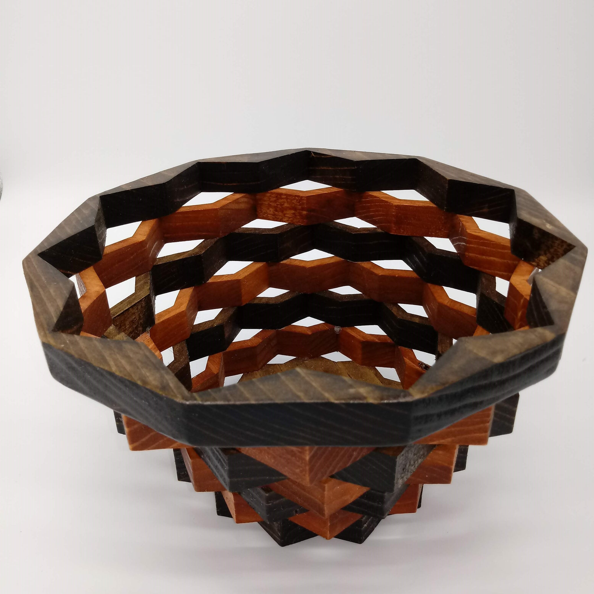 Five Ring Stacked Wood Star Basket - Kripp's Kreations