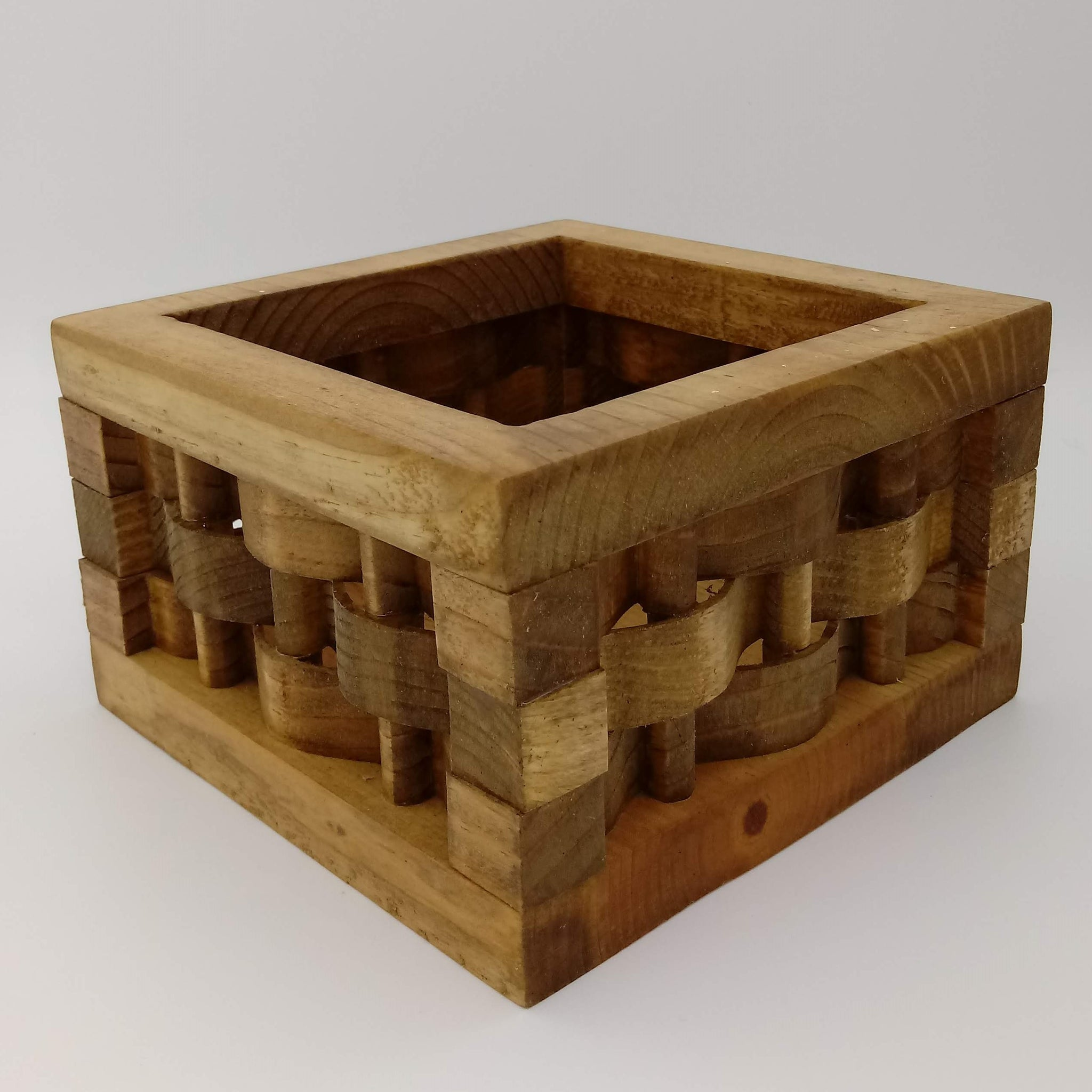 Large Weave Wood Basket - Kripp's Kreations