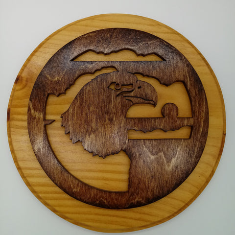 Eagle Head Circle Plaque - Kripp's Kreations