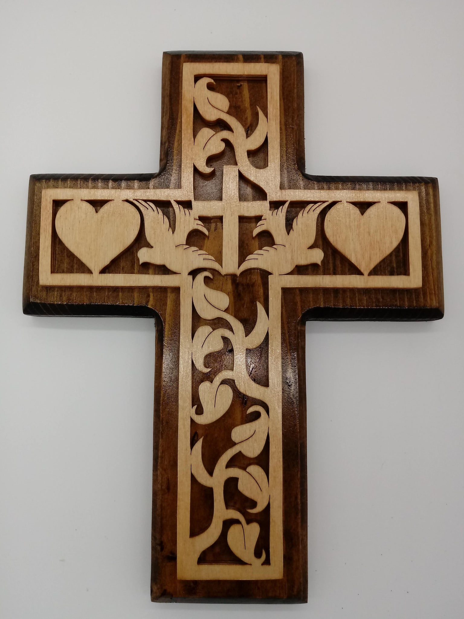 Dove and Heart Decorative Cross - Kripp's Kreations