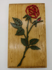 Delicate Red Rose Plaque - Kripp's Kreations
