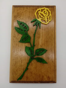 Delicate Yellow Rose Plaque - Kripp's Kreations