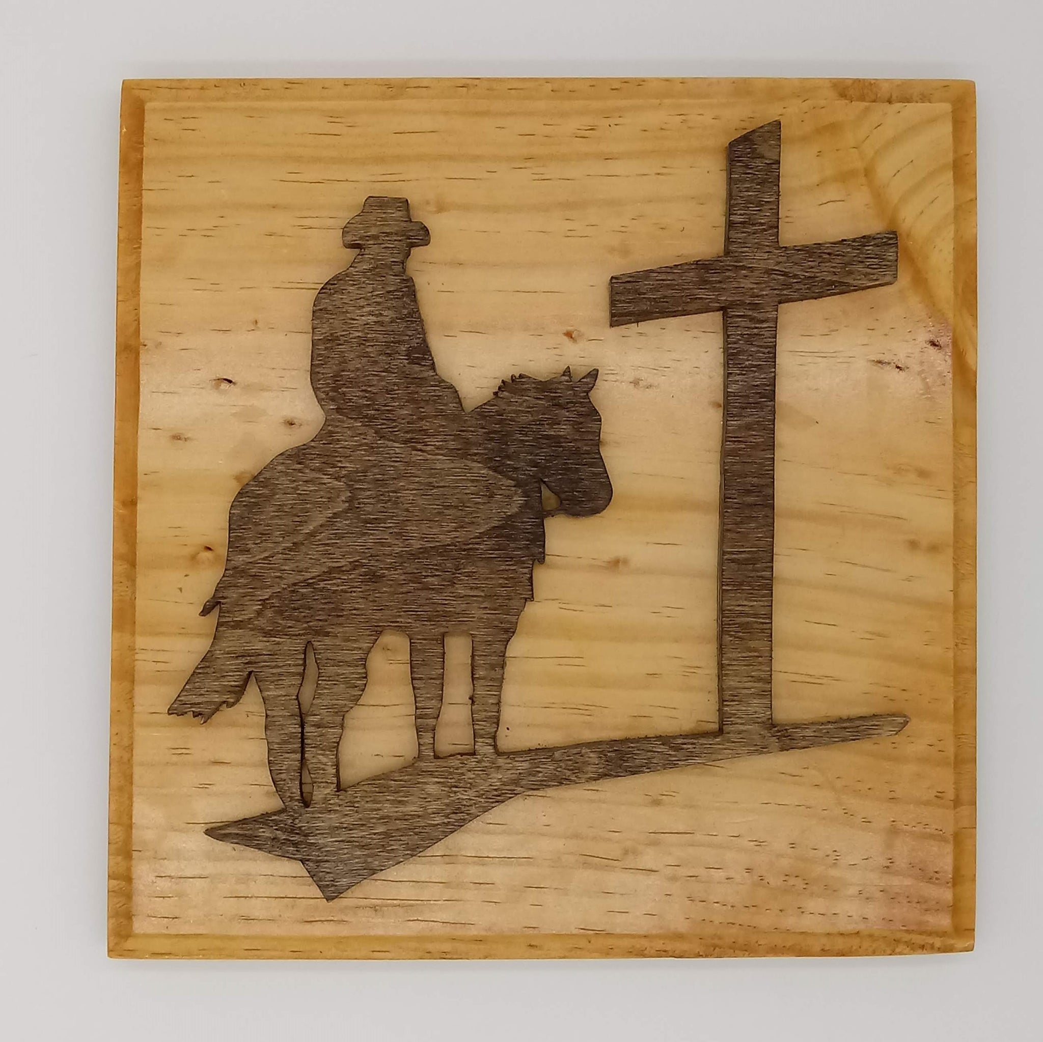 Cowboy Riding to the Cross Plaque - Kripp's Kreations