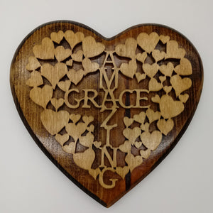 Amazing Grace Heart Plaque - Kripp's Kreations