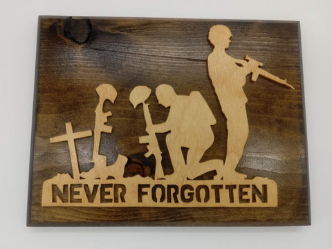 Never Forgotten Soldier Plaque - Kripp's Kreations