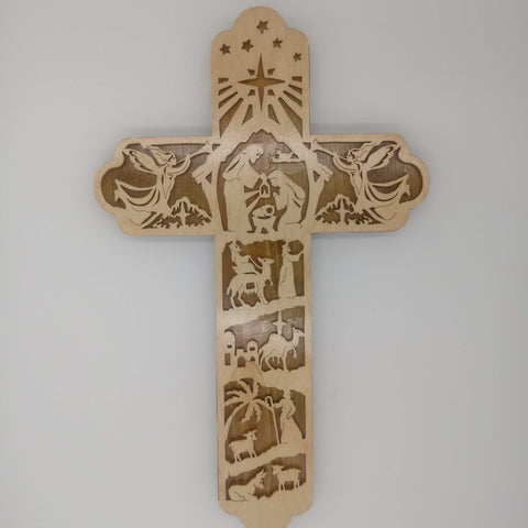 Nativity Fretwork Cross - Kripp's Kreations