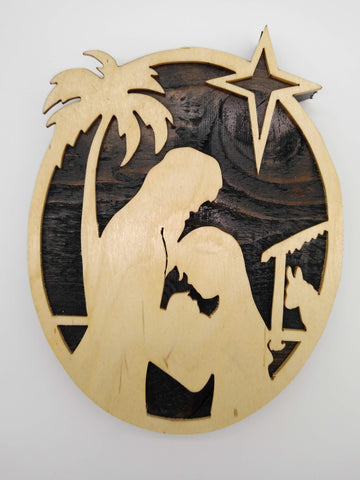 Christmas Nativity Silhouette Oval