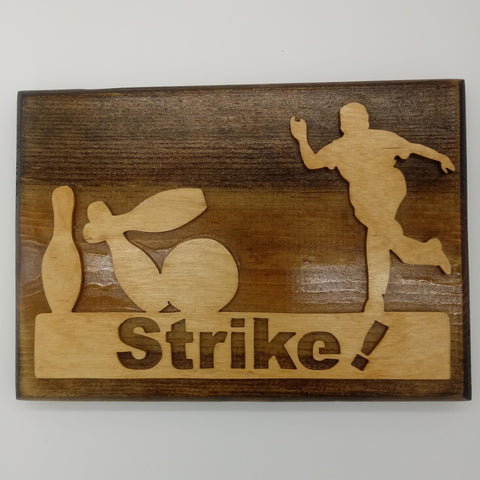 Strike Bowling Plaque - Kripp's Kreations