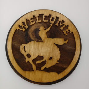 Bronc Rider Cowboy Welcome Sign - Kripp's Kreations
