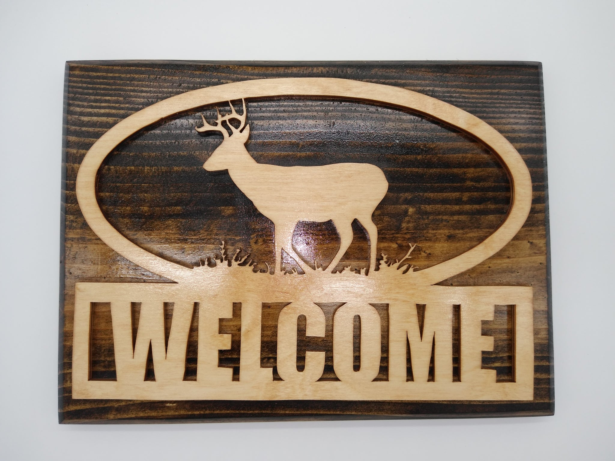 Wood Deer in Nature Welcome Sign