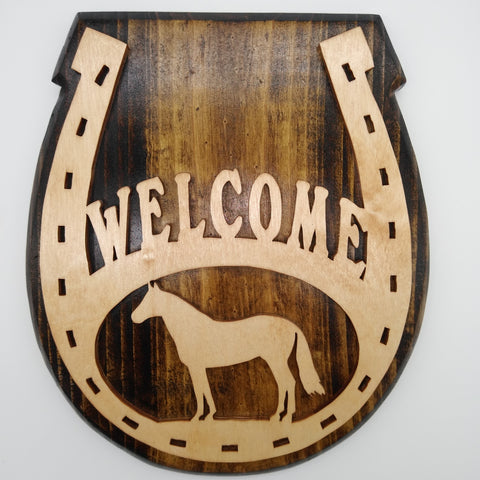 Wood Horseshoe Welcome Sign