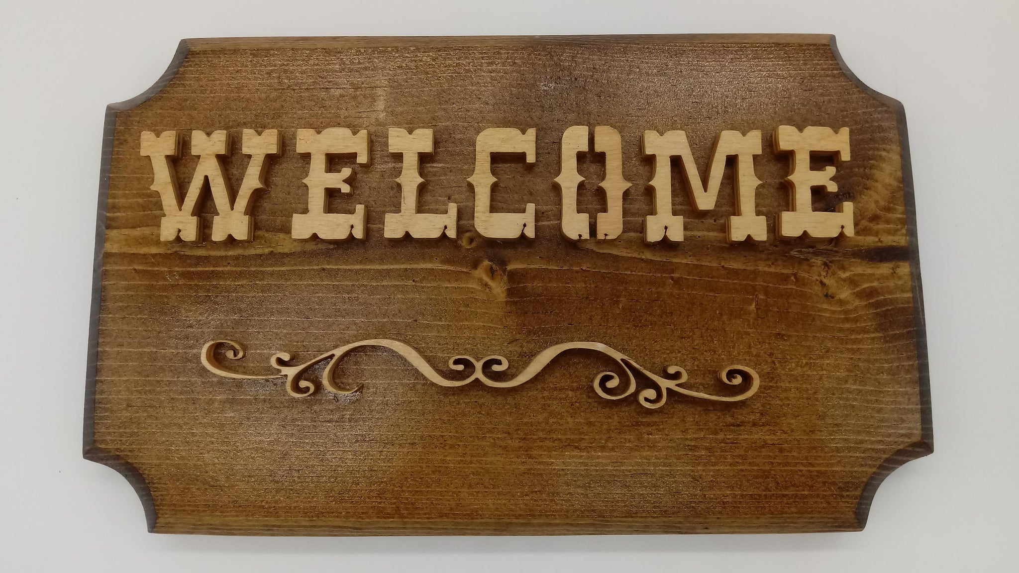 Wood Serenity Scroll Welcome Sign - Kripp's Kreations