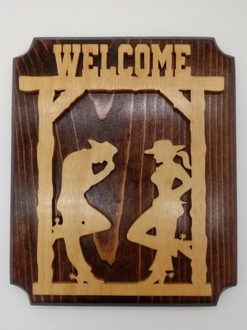 Wood Cowboy and Cowgirl Welcome Sign - Kripp's Kreations