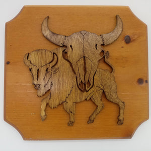 Buffalo Skull Native American Plaque - Kripp's Kreations